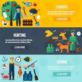 Cazador de pescadores y conjunto de banners de granjero
