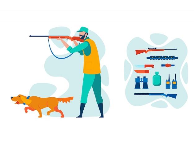 Cazador sosteniendo el personaje de dibujos animados de escopeta