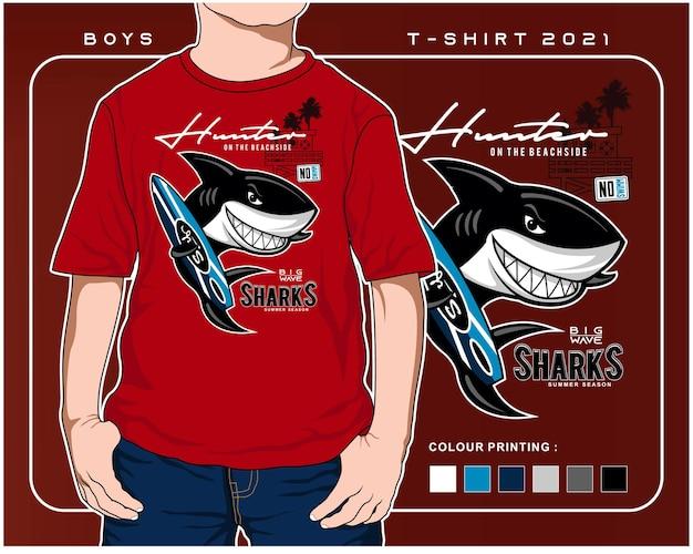 Cazador de tiburones al diseño del ejemplo de la historieta del tiburón del vector de la tabla que practica surf
