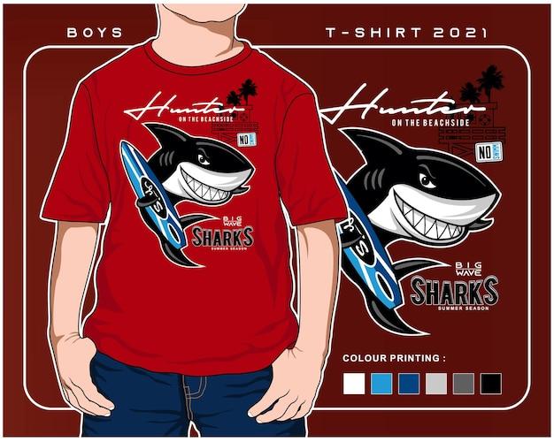 Cazador de tiburones a la tabla de surf diseño de ilustración de dibujos animados de tiburón