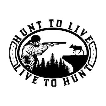 Cazador vintage con insignia de emblema de caza y aventura de armas