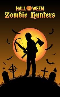 Cazador de zombis de halloween con ballesta en el cementerio