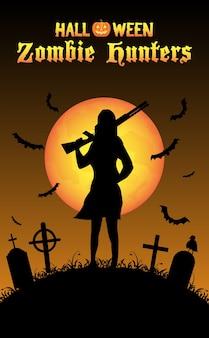 Cazador de zombis de halloween con escopeta en el cementerio