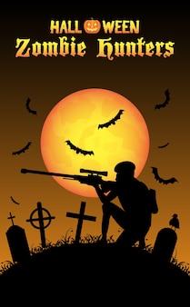 Cazador de zombis de halloween con francotirador en el cementerio
