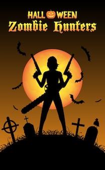 Cazador de zombis de halloween con pistola en el cementerio