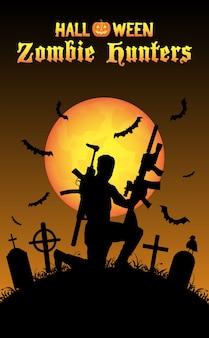 Cazador de zombis de halloween con rifle en el cementerio