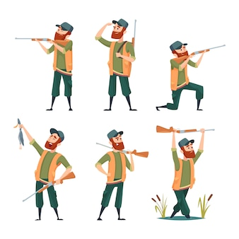 Cazadores de dibujos animados. varios personajes de cazadores en poses de acción