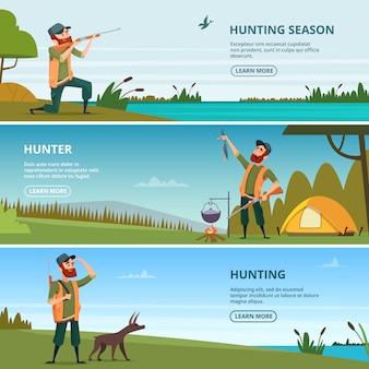 Cazadores en la plantilla de banner de caza. ilustraciones de dibujos animados de caza