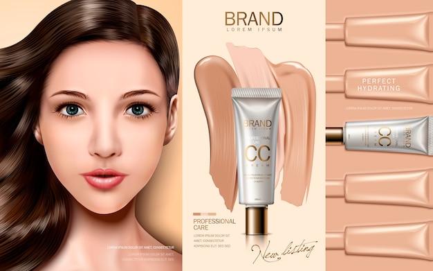 Cc crema contenida en tubo cosmético, con elementos de maquillaje y rostro modelo