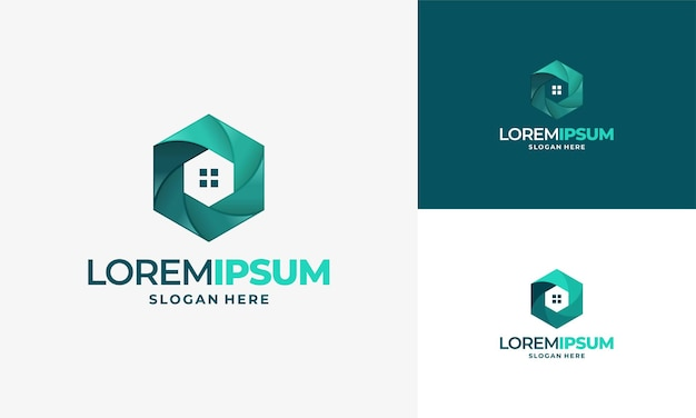 Cctv home concept vector logo template., secure camera cctv logo template design vector