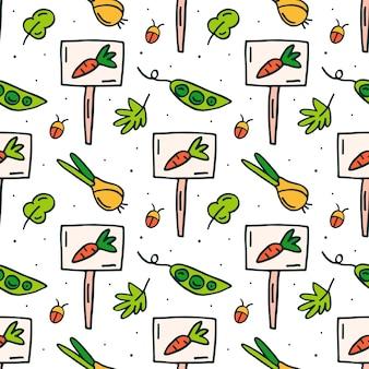Cebolla, guisante y placa de identificación para jardín doodle dibujado a mano de patrones sin fisuras
