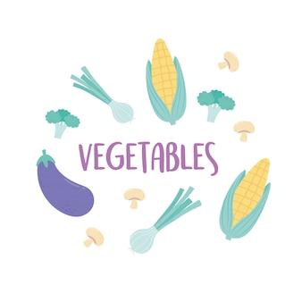 Cebolla de maíz berenjena brócoli vegetales orgánicos frescos comida menú diseño de letras saludables