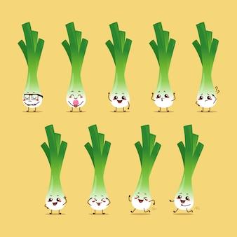 Cebolla de primavera personaje personaje icono animación dibujos animados mascota pegatina expresión