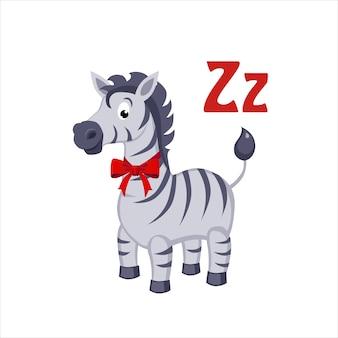 Cebra. alfabeto divertido, ilustración vectorial de animales
