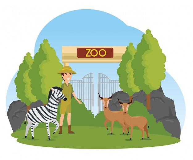 Cebra con ciervos animales en el zoológico con hombre safari