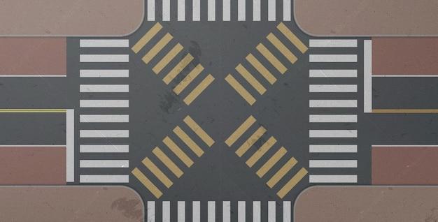 Cebra, intersección de carreteras, paso de peatones de la ciudad, vista superior