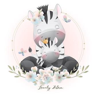 Cebra lindo doodle con ilustración floral