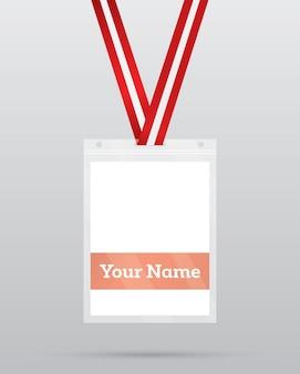 Cédula de identidad con cordón para acceso a eventos. elemento de seguridad y control.