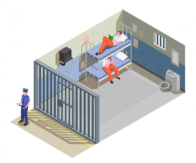 Celda de la cárcel cerrada para dos reclusos con presos en uniforme e ilustración de composición isométrica del guardia de seguridad