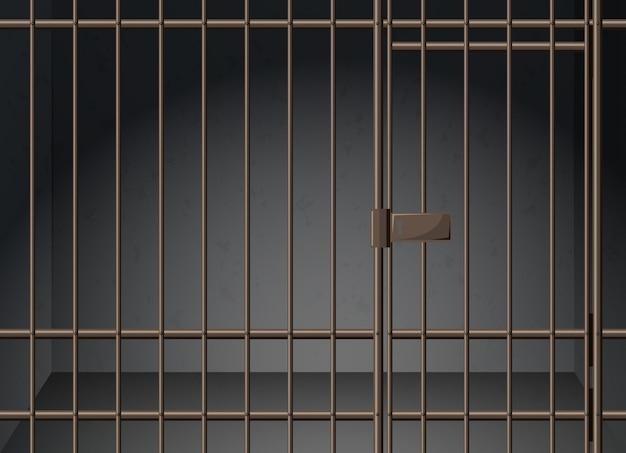 Celda de prisión con barras de metal ilustración