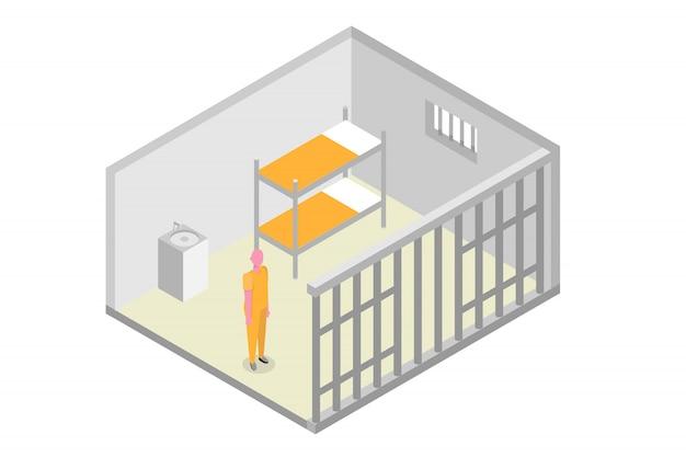 Celda de prisión isométrica. cárcel, concepto de encarcelamiento. ilustración vectorial
