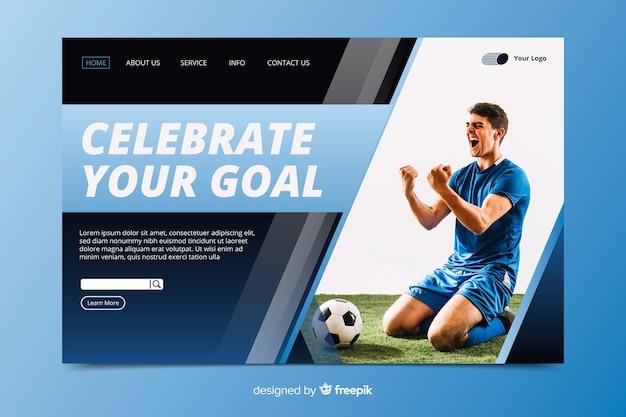 Celebra la página de inicio del deporte con foto