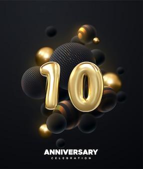 Celebración del 10 aniversario números de oro con manojo de globos negros. ilustración festiva signo 3d realista.