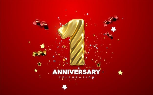 Celebración del 1er aniversario. dorado número 1 con confeti brillante, estrellas, brillos y cintas serpentinas.