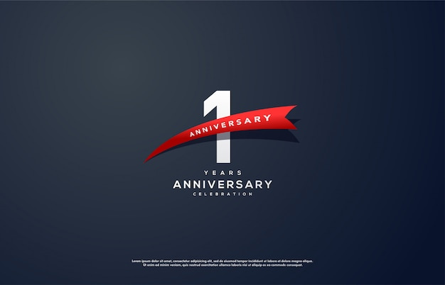 Celebración del 1er aniversario con números blancos y cinta roja.