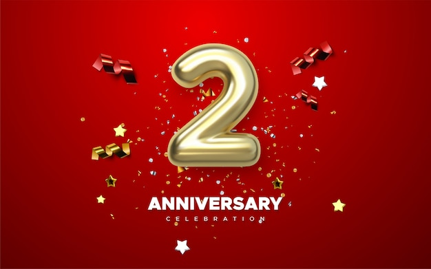 Celebración del 2º aniversario. números dorados con confeti brillante, estrellas, brillos y cintas serpentinas. ilustración festiva signo 3d realista. decoración de eventos de fiesta