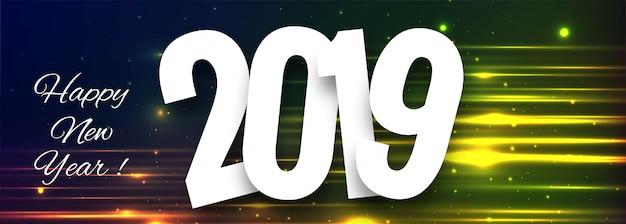 Celebración 2019 colorido feliz año nuevo diseño de banner