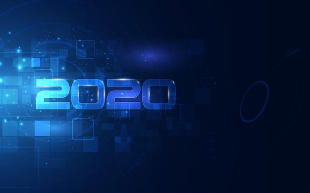 Celebración 2020 con fondo de tecnología futurista cibernética