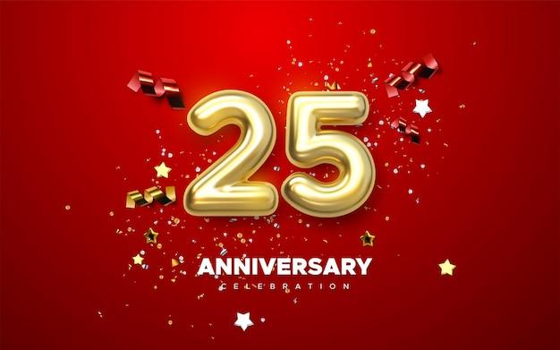 Celebración del 25 aniversario números dorados con confeti brillante.