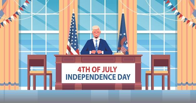 Celebración del 4 de julio presidente de los estados unidos hablando con la gente banner del día de la independencia americana