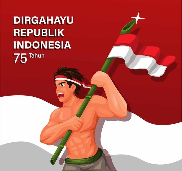 Celebración de 75 años del día de la independencia de indonesia con un soldado sosteniendo una bandera de bambú ilustración