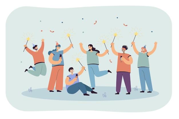 Celebración alegre de hombres y mujeres con gorras. ilustración plana
