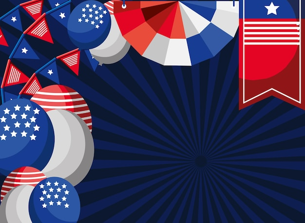 Celebración americana decoración globos banderines