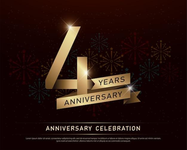 Celebración de aniversario de 4 años número de oro y cintas
