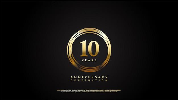 Celebración de aniversario con dígitos de oro en las líneas del círculo de oro.
