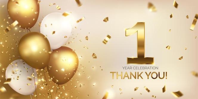 Celebración de aniversario con globos dorados.