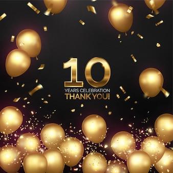 Celebración de aniversario de lujo con globos dorados.