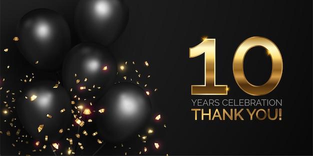 Celebración del aniversario negro y dorado