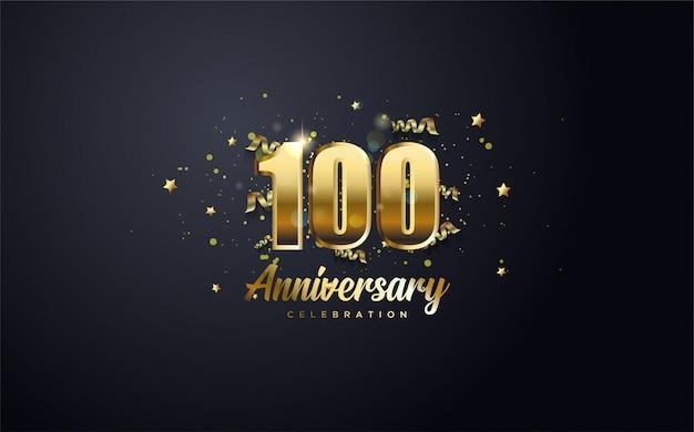Celebración de aniversario número 100 en oro y con las palabras celebración de aniversario de oro.