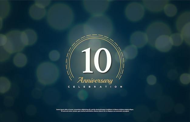 Celebración del aniversario con el número blanco en un círculo discontinuo.