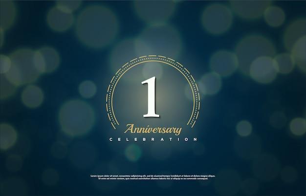 Celebración de aniversario con el número blanco en un círculo discontinuo.