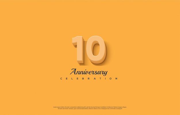 Celebración de aniversario con números en naranja.