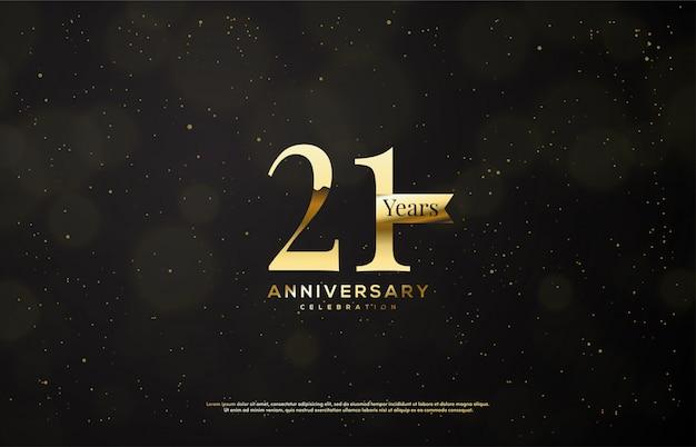 Celebración de aniversario con números de oro con cintas de oro sobre un fondo oscuro.