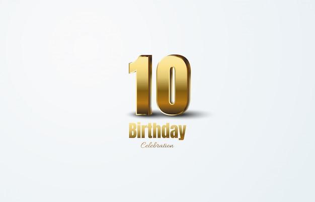 Celebración de aniversario con números de oro.