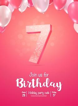 Celebración del aniversario de siete años. celebración de cumpleaños de siete años.