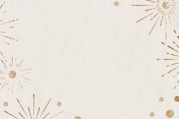 Celebración de año nuevo de fondo beige de fuegos artificiales espumosos